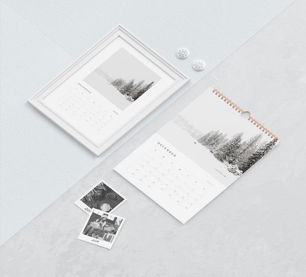 Enlace de libro espiral y concepto de pintura para calendario
