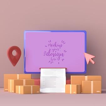 Entrega en línea con plantilla de maqueta de computadora con paquete de entrega