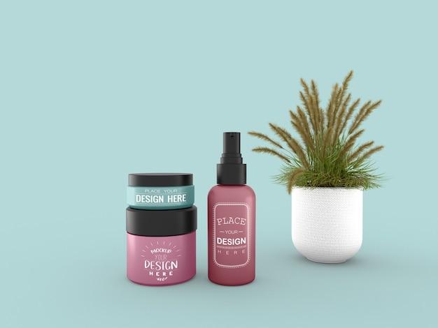 Envase de crema cosmética y maqueta de tubo para crema, loción, suero, envase de botella en blanco para el cuidado de la piel.
