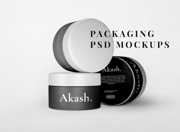 Envase para el cuidado de la piel maqueta de tarro psd embalaje de productos de belleza