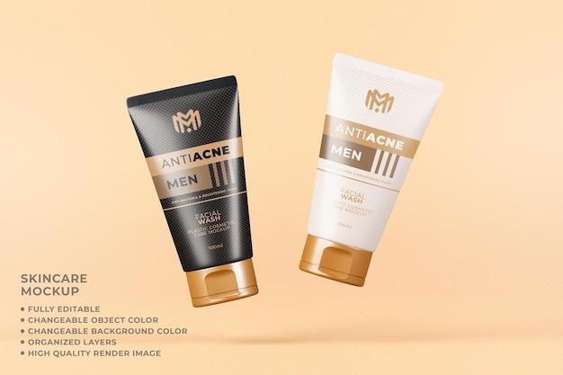 Envase de tubo de maqueta cosmética cuidado de la piel flotante color editable