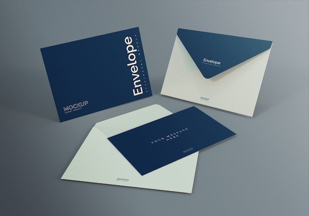 Envelop mockup ontwerpsjabloon met donkere grijze achtergrond