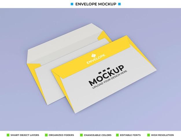 Envelopmodel dat op zachte kleurenachtergrond wordt geïsoleerd