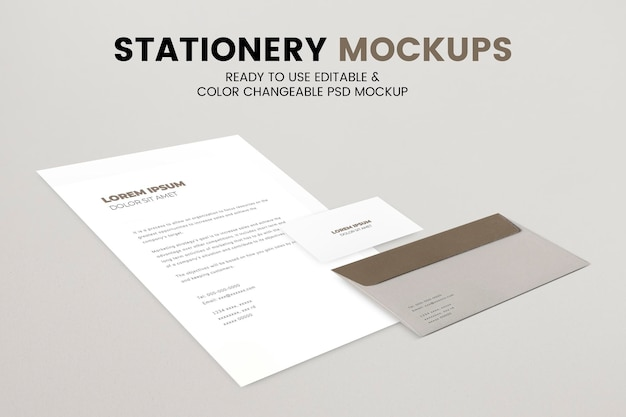 Enveloppapier mockup psd briefpapier