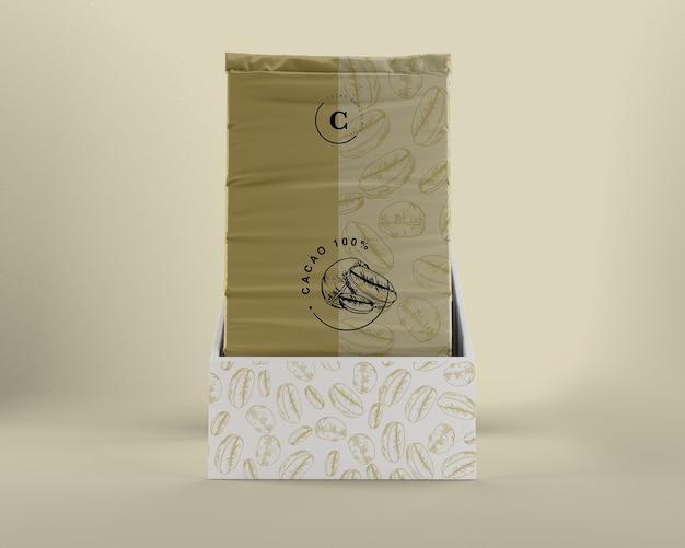 Envoltura de plástico para chocolate y diseño de caja.