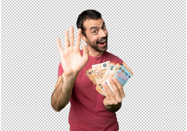 Equipaggi prendere molti soldi che salutano con la mano con l'espressione felice