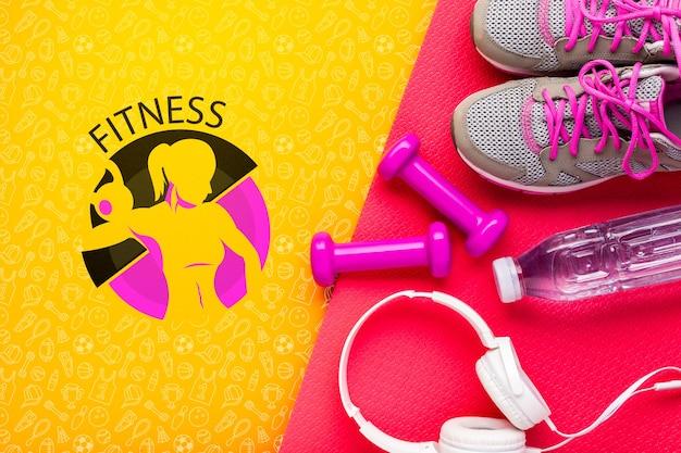 Equipo de clase de ejercicios y auriculares.