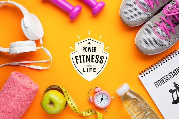 Equipo de clase de fitness y maqueta