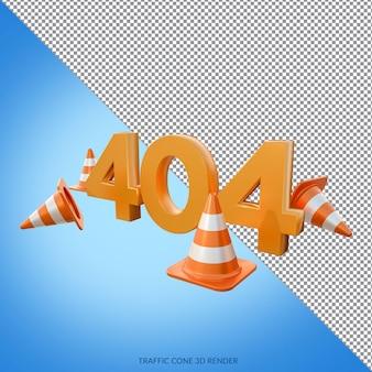 Erorr 404 met 3d-weergave van verkeerskegels