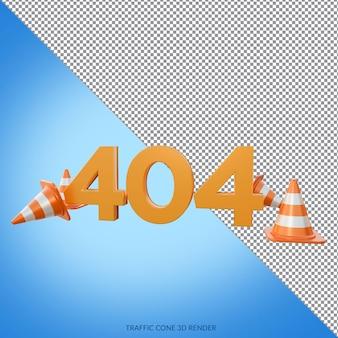Erorr 404 met traffic cone 3d render