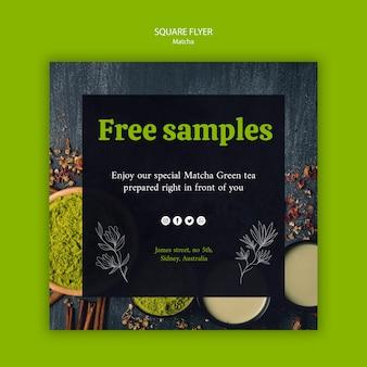 Ervaar de natuur met matcha tea square flyer