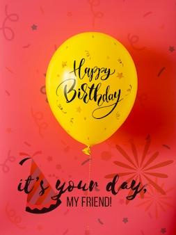 Es tu día mi amigo con globos de feliz cumpleaños