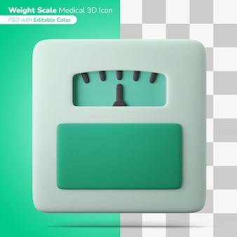 Escala de peso de piso médico ilustración 3d icono 3d color editable aislado