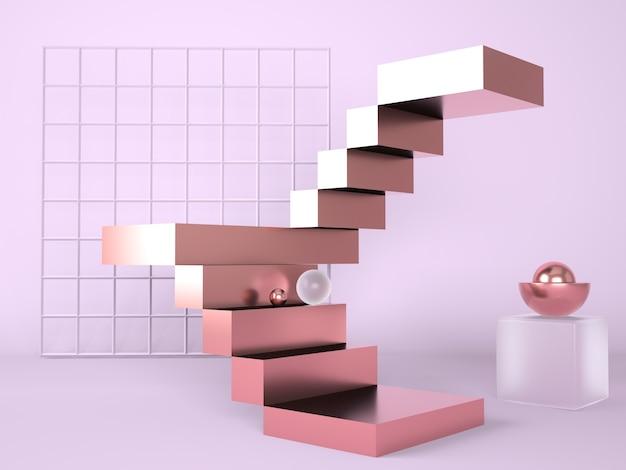 Escalera con una representación 3d del podio