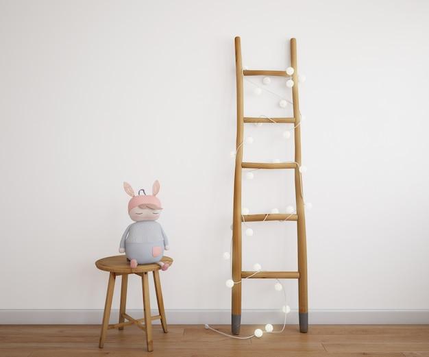Escaleras decorativas con guirnalda de luz y muñeca