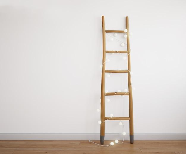 Escaleras decorativas con guirnalda de luz
