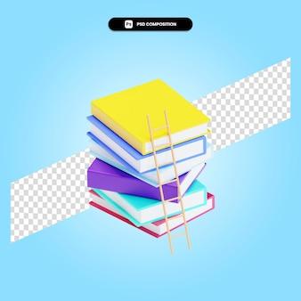 Escaleras a las pilas de libros 3d render ilustración aislada