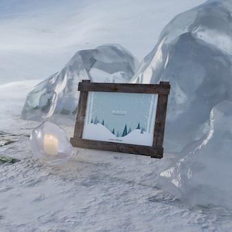 Escena congelada en invierno con marco