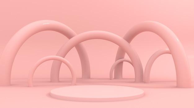 Escena de fondo rosa abstracto para la representación 3d de la exhibición del producto