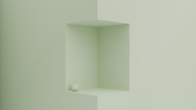 Escena geométrica 3d con espacio de cubo para la colocación del producto.