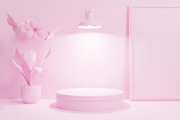 Escena geométrica podio minimalista escena interior 3d con color editable