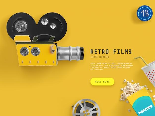 Escena de héroe / cabecera de películas retro