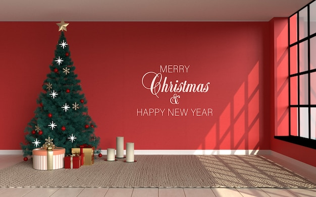 Escena interior con habitación roja y árbol de navidad y maqueta de papel tapiz
