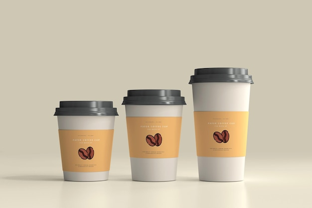 Escena de maqueta de taza de café de papel