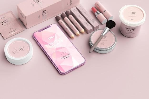 Escena de maquetas de productos cosméticos