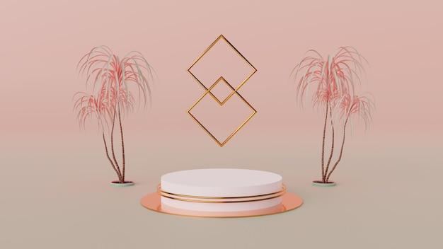 Escena moderna con podio y fondo abstracto. render de moda para banners de redes sociales, promoción, presentación de productos cosméticos. interior de formas geométricas.