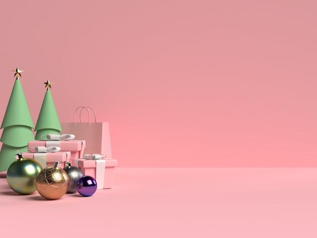 Escena del podio de navidad con caja de regalo y bola sobre fondo rosa en representación 3d