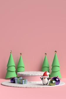 Escena del podio de navidad con caja de regalo y pingüino sobre fondo rosa en 3d rendering