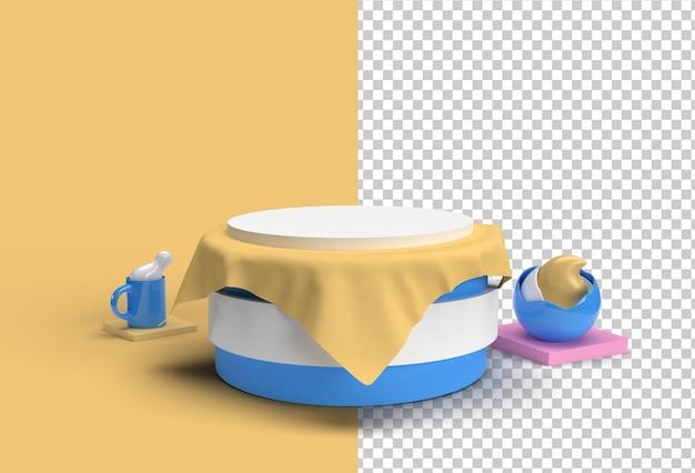 Escena de renderizado 3d de una escena de podio mínima para mostrar un archivo psd transparente.