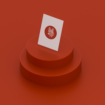 Escena roja monocromática con maqueta de tarjeta de visita