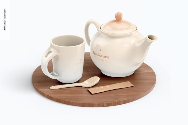 Escena de té con maqueta de superficie
