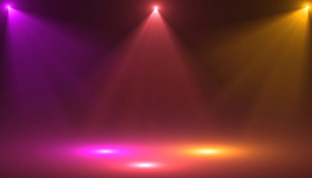 Escenario vacío con focos de colores