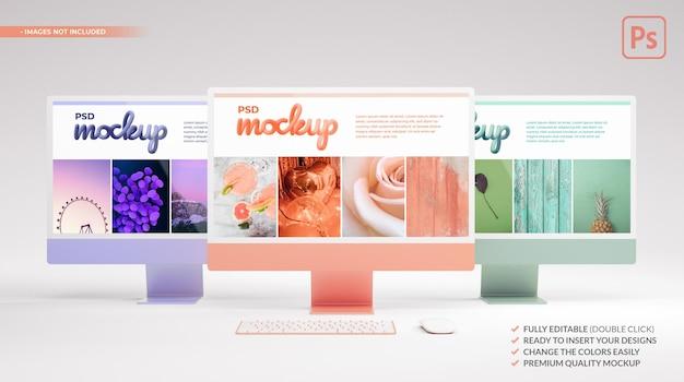 Escritorio de computadora de tres colores con pantalla de maqueta para presentación web. representación 3d