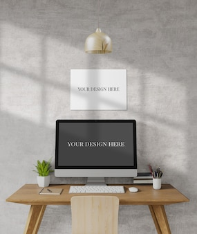 Escritorio de loft, maqueta, espacio de copia, plantilla, trabajo desde casa, render 3d, ilustración