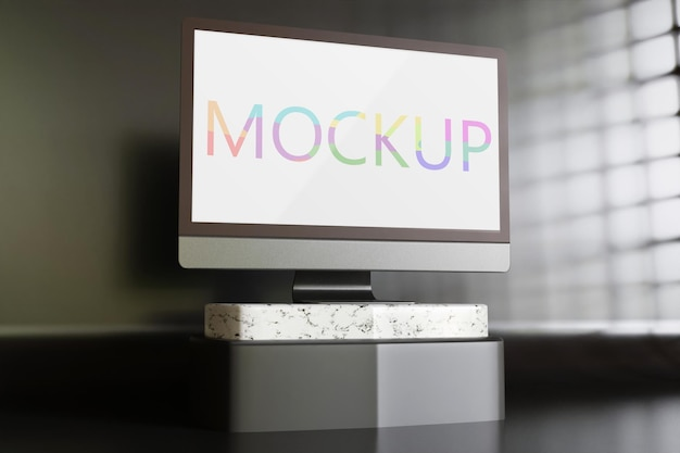 Escritorio de maqueta de computadora de pantalla minimalista de pie sobre la mesa negra