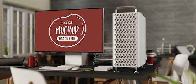 Escritorio de maqueta de computadora de renderizado 3d con suministros de oficina