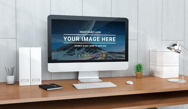 Escritorio de oficina moderno con maqueta de computadora