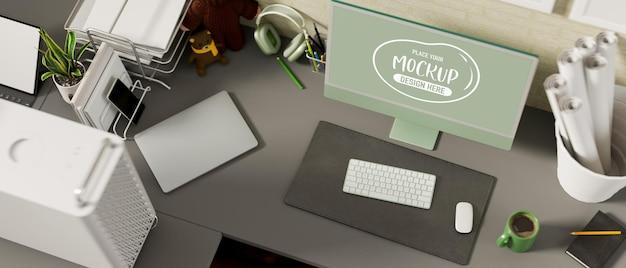 Escritorio de oficina de renderizado 3d de vista superior con maqueta de dispositivo de computadora