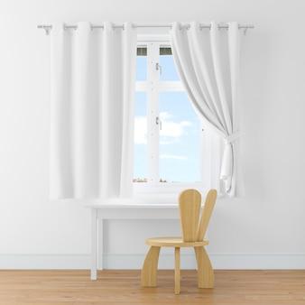 Escritorio y silla en una sala blanca.