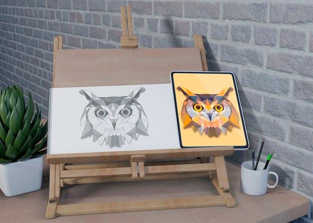 Escritorio de soporte de pintura en la vista de casa