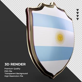 Escudo 3d bandera argentina renderizado vista izquierda