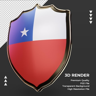 Escudo 3d bandera de chile renderizado vista derecha