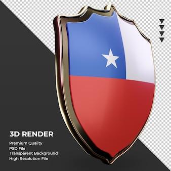 Escudo 3d bandera de chile renderizado vista izquierda
