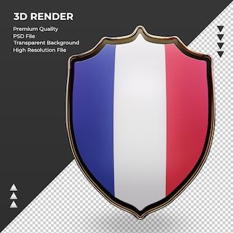 Escudo 3d bandera de francia renderizado vista frontal