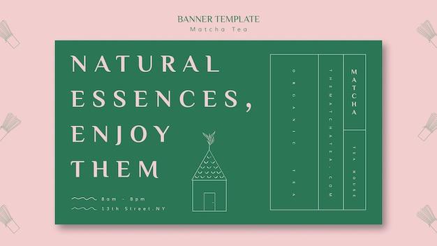 Esencias naturales, disfrute de la plantilla de banner matcha
