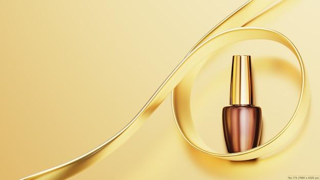 Esmalte de uñas con cinta dorada. render 3d